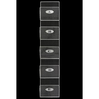 White Metal Mail Organizer Mesh Design with Lettered 5 Tiers Large