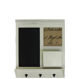 White Wood Wall Organizer with Chalkboard/ Linen Pinboard and Shelf