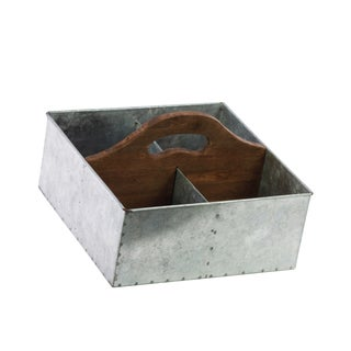 Galvanized Zinc Metal Storage with Wood Hole Handle and 4 Slots