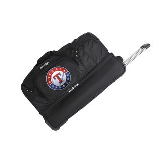 Denco Sports MLB Texas Rangers 27-inch Drop Bottom Rolling Duffel Bag