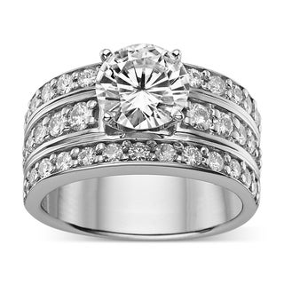 Charles & Colvard Sterling Silver 2.91 TGW Round Classic Moissanite Solitaire Fashion Ring