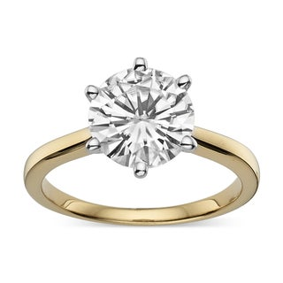 Charles and Colvard Gold over Silver 2.7ct. TGW Round Moissanite Solitaire Ring