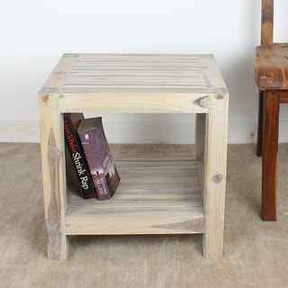 Handmade Teak Slat 18 x 16 x 18 Agate Grey End Table with Shelf (Thailand)