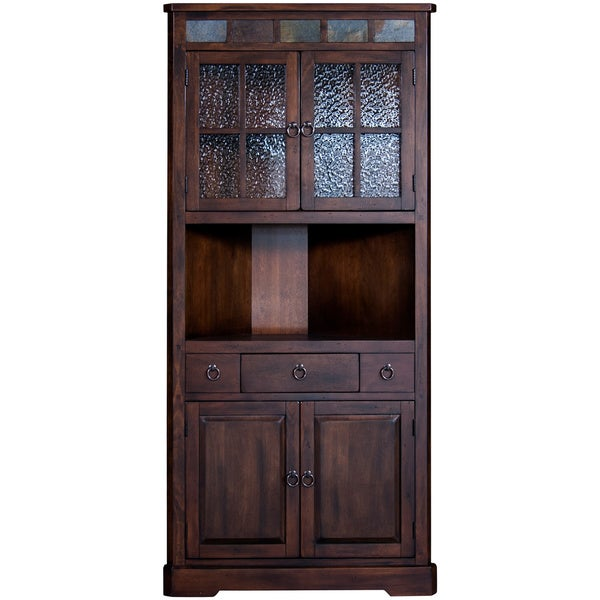 Dark Brown Desk With Hutch