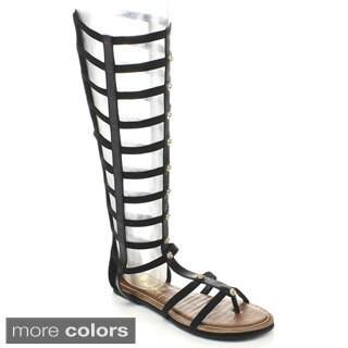 BUMPER ODELIA04 Women's Studded Knee High Gladiator Sandals