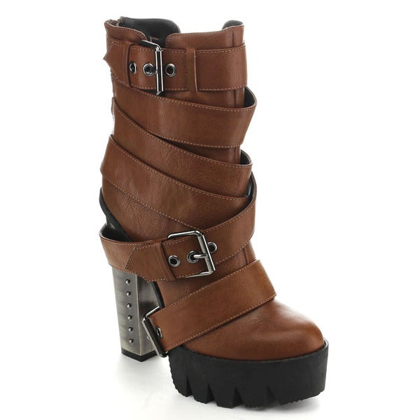 BUMPER VANITA01 Women's Lug Sole Strappy Buckle Platform Ankle Booties