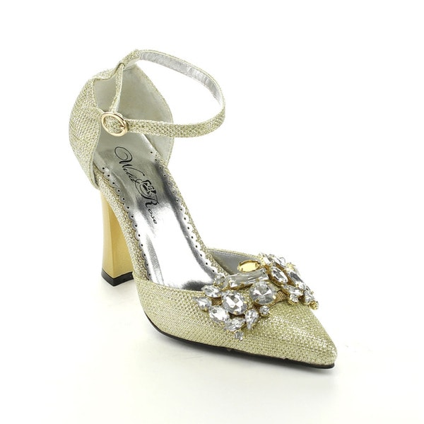 Wildrose SAPPHIRE02 Women's Glitter Ankle Strap D'orsay Pumps