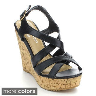 Spirit Moda JODY-1 Women's Strappy Criss Cross Wedges