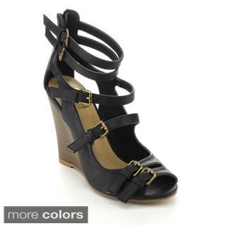 Bumper PIPER09 Women's Strappy Ankle Strap Wedges