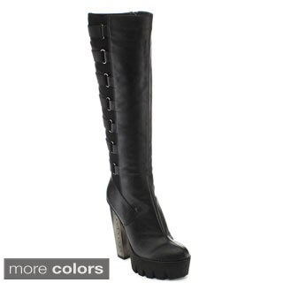 Bumper VANITA03 Women's Lug Sole Strappy Platform Knee High Boots