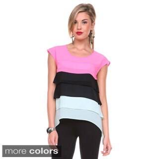 Stanzino Women's Colorblock Tiered Sleeveless Chiffon Top