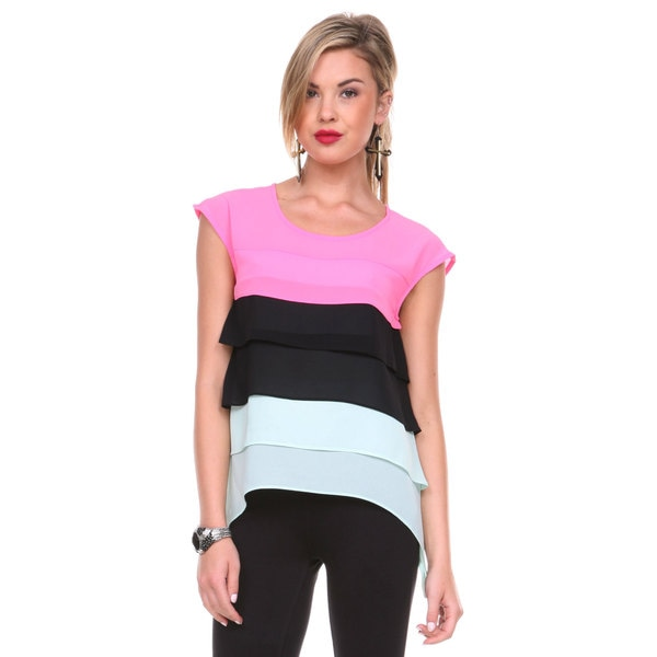 Stanzino Women's Colorblock Tiered Sleeveless Chiffon Top