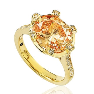 Suzy Levian Sterling Silver Orange Cubic Zirconia Ring