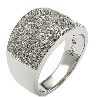 Suzy Levian Sterling Silver Cubic Zirconia Pave Ring