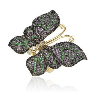 Suzy Levian Goldplated Sterling Silver Cubic Zirconia Pave Butterfly Ring