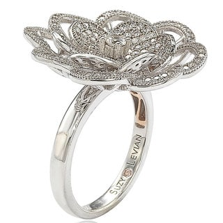 Suzy Levian Sterling Silver Cubic Zirconia Flower Ring