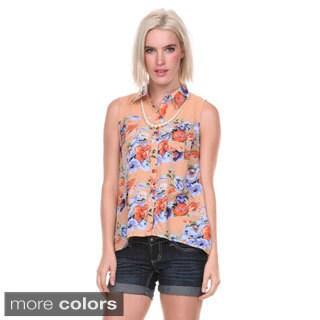 Stanzino Women's Sleeveless Floral Button Down Chiffon Shirt
