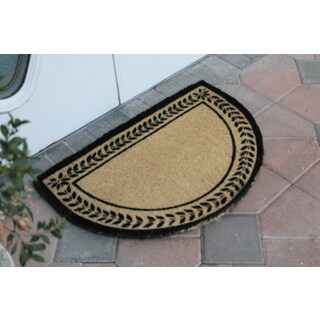 "Half Round Leaf Border Decorative Door Mat (24"" x 36"")"