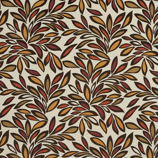 U0340D Orange/ Burgundy and Beige Leaves Layered Microfiber Velvet on Cotton Upholstery Fabric by the Yard
