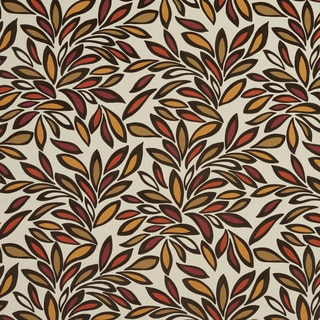 U0340D Orange/ Burgundy and Beige Leaves Layered Microfiber Velvet on Cotton Upholstery Fabric