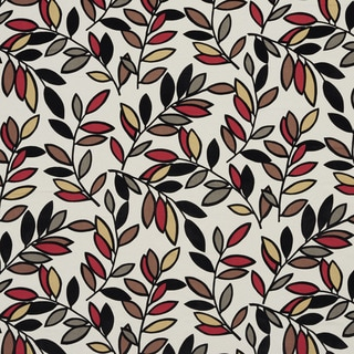 U0320C Black/ Grey/ Red and Brown Leaves Layered Microfiber Velvet on Cotton Upholstery Fabric by the Yard