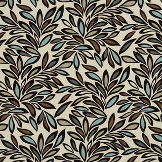 U0340A Teal/ Taupe and Brown Leaves Layered Microfiber Velvet on Cotton Upholstery Fabric