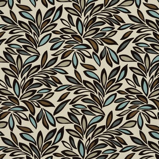 U0340A Teal/ Taupe and Brown Leaves Layered Microfiber Velvet on Cotton Upholstery Fabric by the Yard