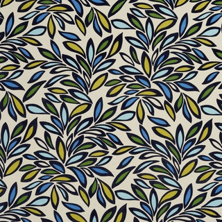 U0340B Green/ Yellow and Blue Leaves Layered Microfiber Velvet on Cotton Upholstery Fabric by the Yard