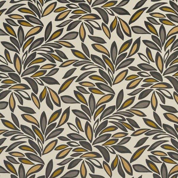 U0340C Gold/ Taupe and Green Leaves Layered Microfiber Velvet on Cotton Upholstery Fabric by the Yard