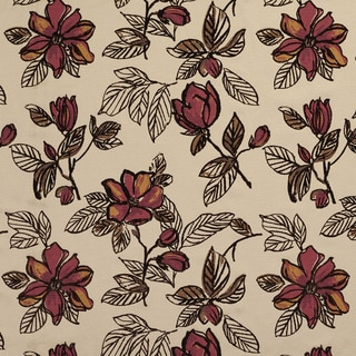 U0350C Burgundy and Brown Large Flowers Layered Microfiber Velvet on Cotton Upholstery Fabric by the Yard