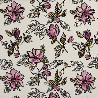 U0350D Lilac Large Flowers Layered Microfiber Velvet on Cotton Upholstery Fabric