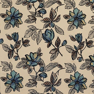 U0350E Blue Large Flowers Layered Microfiber Velvet on Cotton Upholstery Fabric