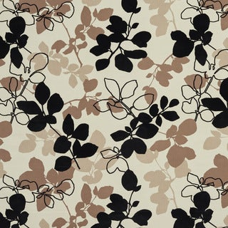 U0360A Black and Brown Leaves Layered Microfiber Velvet on Cotton Upholstery Fabric by the Yard