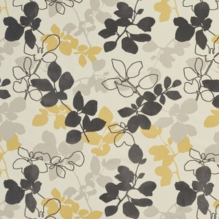U0360B Yellow and Grey Leaves Layered Microfiber Velvet on Cotton Upholstery Fabric by the Yard