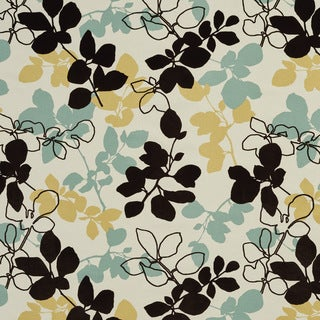 U0360C Teal/ Black and Pear Leaves Layered Microfiber Velvet on Cotton Upholstery Fabric