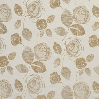U0370A Beige Roses Layered Microfiber Velvet on Cotton Upholstery Fabric by the Yard