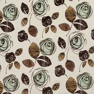 U0370D Seamist and Brown Roses Layered Microfiber Velvet on Cotton Upholstery Fabric