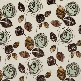 U0370D Seamist and Brown Roses Layered Microfiber Velvet on Cotton Upholstery Fabric by the Yard