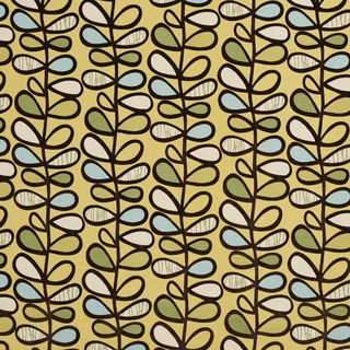 U0380A Yellow/ Green and Light Blue Vines Layered Microfiber Velvet on Cotton Upholstery Fabric