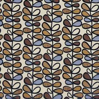 U0380C Blue/ Gold and Brown Vines Layered Microfiber Velvet on Cotton Upholstery Fabric by the Yard