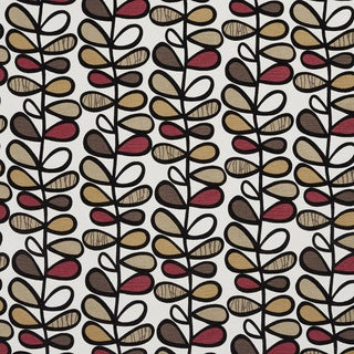 U0380D Brown and Burgundy Vines Layered Microfiber Velvet on Cotton Upholstery Fabric