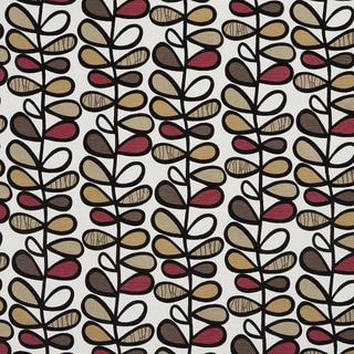 U0380D Brown and Burgundy Vines Layered Microfiber Velvet on Cotton Upholstery Fabric by the Yard