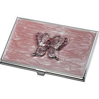 Pari Pink Butterfly with Purple Crystals Business Card Case