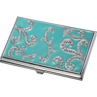 Visol Rana Turquoise and Austrian Crystals Business Card Case