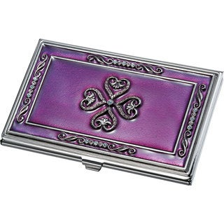 Visol Keiko Purple Lacquer with Crystals Business Card Case