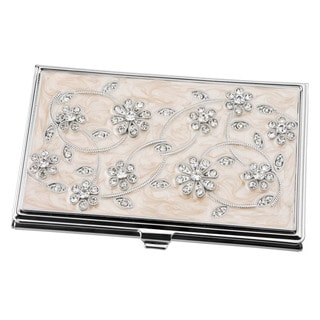 Visol Mindy Pink with Crystal Floral Patterned Women's Business Card Case