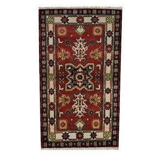 Herat Oriental Indo Hand-knotted Tribal Kazak Red/ Beige Wool Rug (3'2 x 5'4)