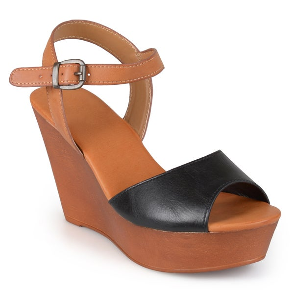 Journee Collection Women's 'Lotus' Ankle Strap Platform Wedges