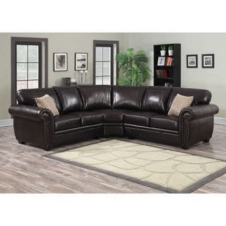 Connie 3-piece Dark Brown Sectional Sofa