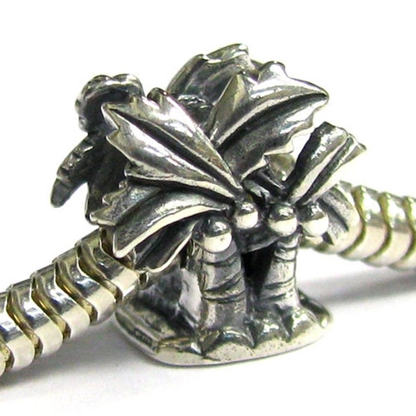 Queenberry Sterling Silver Coconut Palm Tree Vacation European Bead Charm